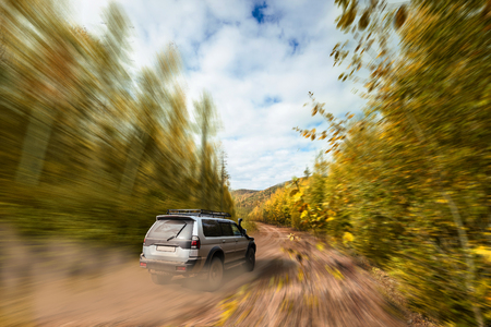 SUV moving fast on dirt road in the forest Standard-Bild - 100582659