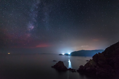 Milky way over the sea. Some noise from high iso exists Standard-Bild - 110545401