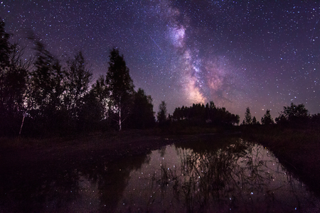 Milky way over a lake. Some noise from high iso exists Standard-Bild - 110545513