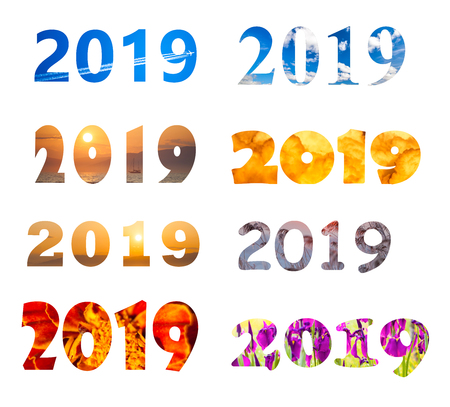 2019 year number with different fonts and backgrounds isolated on white Standard-Bild - 110545555