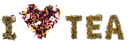 Words I love tea mede of tea leaves Standard-Bild - 110545640
