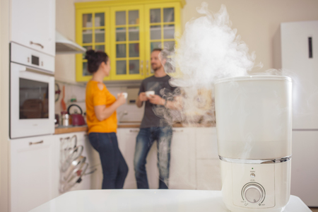 Humidifier in the kitchen. A man and a woman on the background