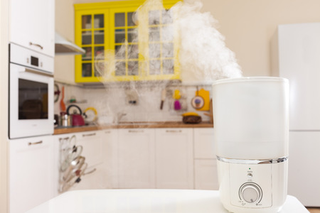 Humidifier in the kitchen and vapor from it