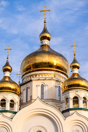 Orthodox cathedral domes and golden crosses in Khabarovsk, Russia Фото со стока