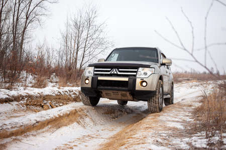 Khabarovsk, Russia - January 7, 2021: Mitsubishi Pajero/Montero at dirt road in winter Editöryel