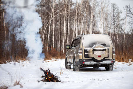 Khabarovsk, Russia - January 7, 2021: Mitsubishi Pajero/Montero in the forest in winter