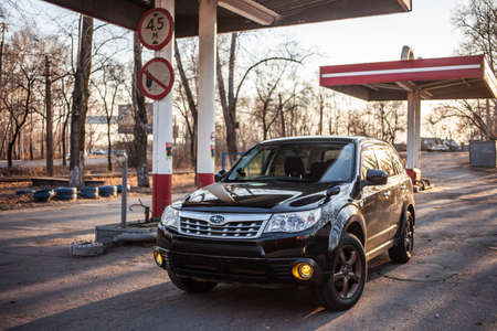 Khabarovsk, Russia - APRIL 22, 2019: SUBARU FORESTER at abandoned gas station