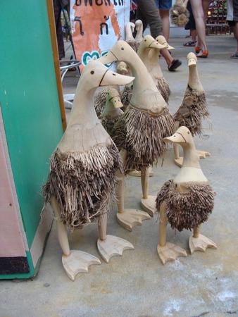 wood craft: wood duck,thailand Stock Photo