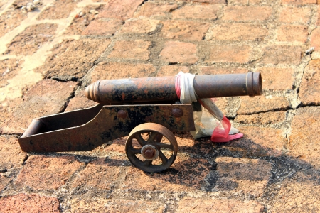 gunnery: Antique cannon isolated, thajland