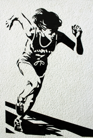 sprinting: one caucasian woman runner