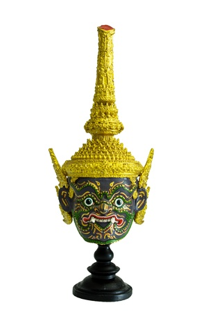 Native Thai style giant mask, use in royal performance, Khon  photo