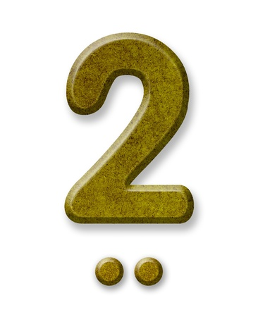 yearly: Number Two made of wood isolated on a white background Stock Photo