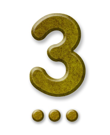 Number Three made of wood isolated on a white background photo