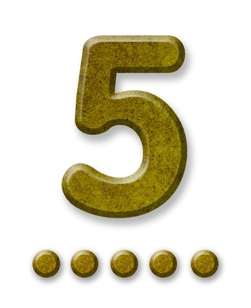 Number Five made of wood isolated on a white background photo