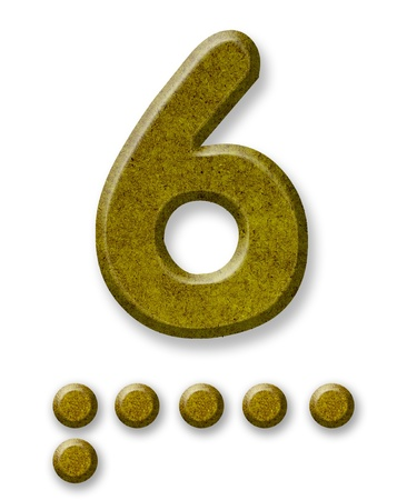 the turn of the year: Number Six made of wood iso lated on a white background
