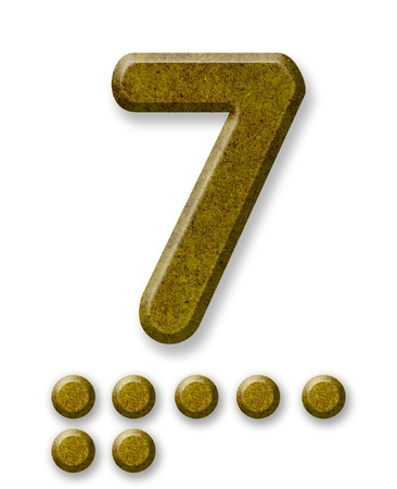 Number Seven made of wood isolated on a white background photo
