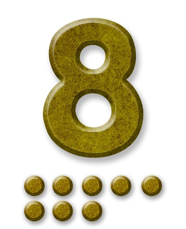 Number Eight made of wood isolated on a white background photo