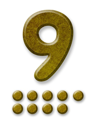 Number Nine made of wood isolated on a white background photo