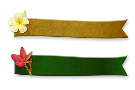 convolvulus: Recycled wood two long curved adorned with frangipani flowers Stock Photo