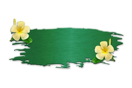 convolvulus: The recycled wooden sign with flowers on white background