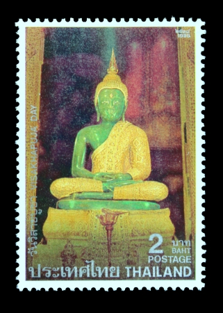 THAILAND - CIRCA MAY 1995  A postage stamp printed in Thailand shows image of pay homage to Lord Buddha and to publicize the important Buddhist Religious Day  Visakhapuja Day , circa May 1995 Stock Photo - 15438611