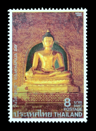 of homage: THAILAND - CIRCA MAY 1995  A postage stamp printed in Thailand shows image of pay homage to Lord Buddha and to publicize the important Buddhist Religious Day  Visakhapuja Day , circa May 1995