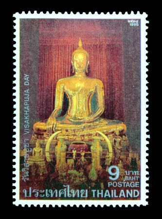 publicize: THAILAND - CIRCA MAY 1995  A postage stamp printed in Thailand shows image of pay homage to Lord Buddha and to publicize the important Buddhist Religious Day  Visakhapuja Day , circa May 1995