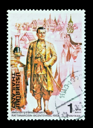 king of thailand: THAILAND - CIRCA 1982  A stamp printed in Thailand shows image of Ratanakosin Bicentennial, series, circa 1982 Editorial