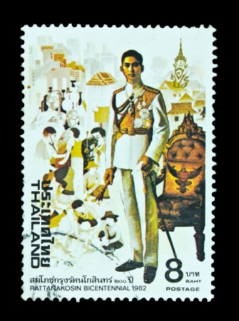 king of thailand: THAILAND - CIRCA 1982: A stamp printed in Thailand (catalogue number Scott 2008 991) shows the image of Ananda Mahidol (1925-46), from the Chakri Dynasty kings series, circa 1982