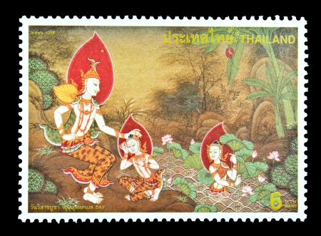 idealized: THAILAND - CIRCA 1998  A stamp printed in Thailand dedicated to visakhapuja day, circa 1998