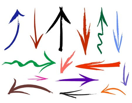 down arrow: Collection of hand drawn doodle style arrows in various directions and styles