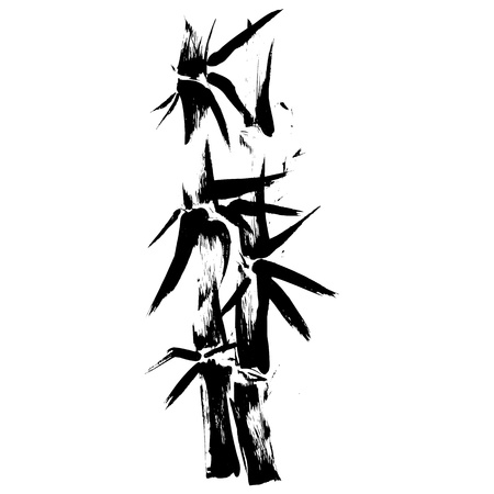bamboo leaves: Hand drawn illustration of a bamboo black silhouette against a white background