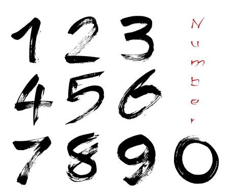 numero uno: Números 0-9 escrito con un pincel sobre un fondo blanco Vectores