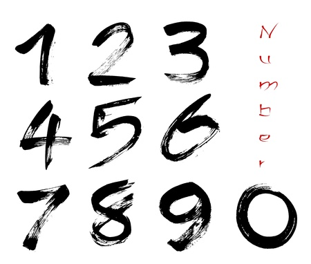 10 number: Numbers 0-9 written with a brush on a white background