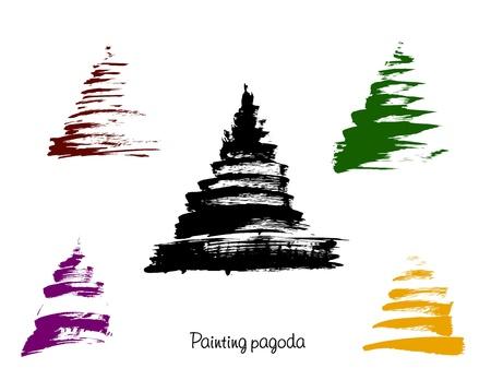 thailand symbol: pagoda, illustration