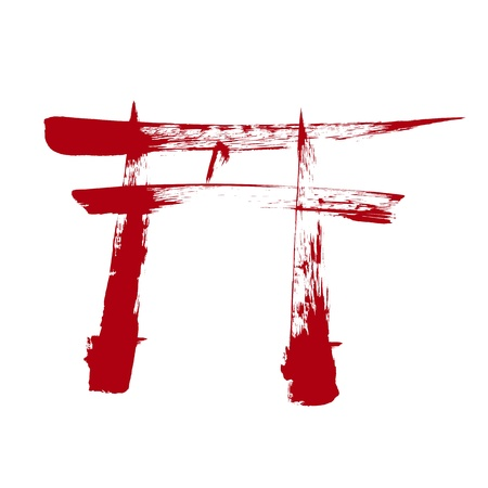 shinto: Religious Shinto Torri sign isolated on a white background