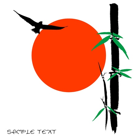 shui: Hand drawn illustration of a bamboo and sun silhouette against a white background