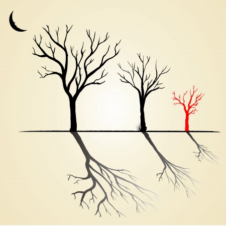 Silhouette, nero e rosso di un albero senza foglie
