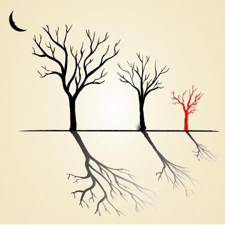 kale: Zwart en rood silhouet van een boom zonder bladeren