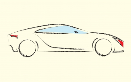 red sports car: Outlines of cars ,vector