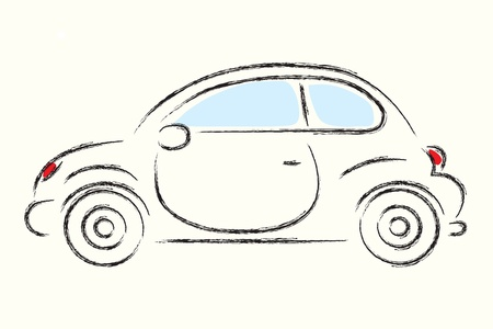 dessin au trait: Les contours de voitures, vecteur