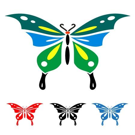 bunte Schmetterlinge auf weißem Hintergrund für Design