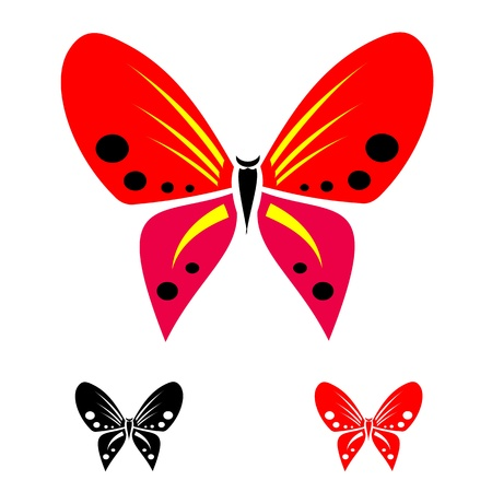 stylistic: colorful butterflies on white background for design  Illustration