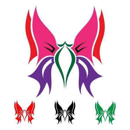 totem: papillons color�s sur fond blanc pour la conception
