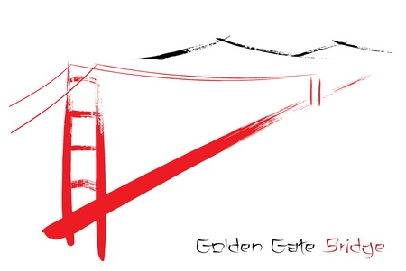 suspension bridge: Golden Gate Bridge berated with a paintbrush Illustration