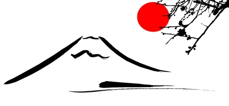 japan culture: View Mount Fuji Kyoto and Osaka flowers red sun, vector