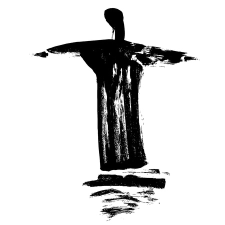 Statue Cristo Redentor painted with a paintbrush Vector