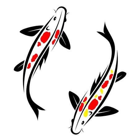 pez carpa: Carpa koi con una mancha de color rojo y amarillo en el cuerpo Vectores