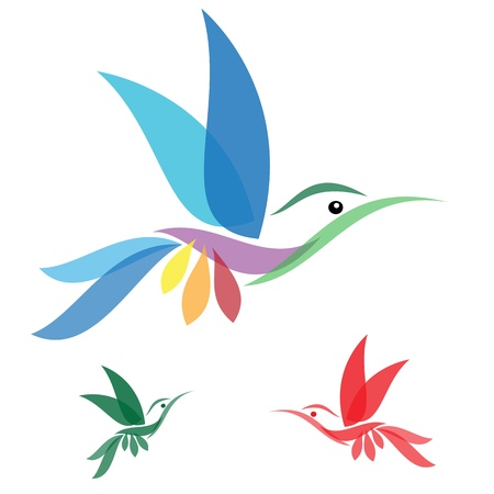 humming: Isolated abstract humming bird in white background Illustration