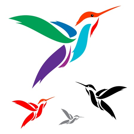 flights: Isolated abstract humming bird in white background Illustration